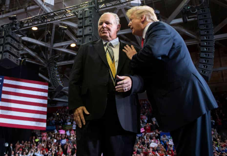 Limbaugh with Trump at a rally in Missouri in November 2018.