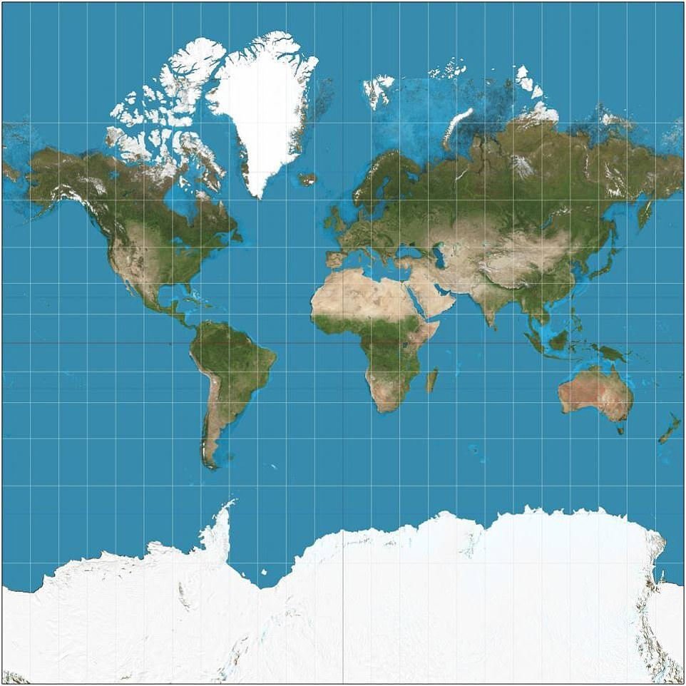 Most maps show North America being larger than Africa, Alaska bigger than Mexico and China appears to be smaller than Greenland. The distortion is the result of the Mercator projection (pictured), the map most commonly seen hanging in classrooms and in text books, which was created in 1596 to help sailors navigate the world