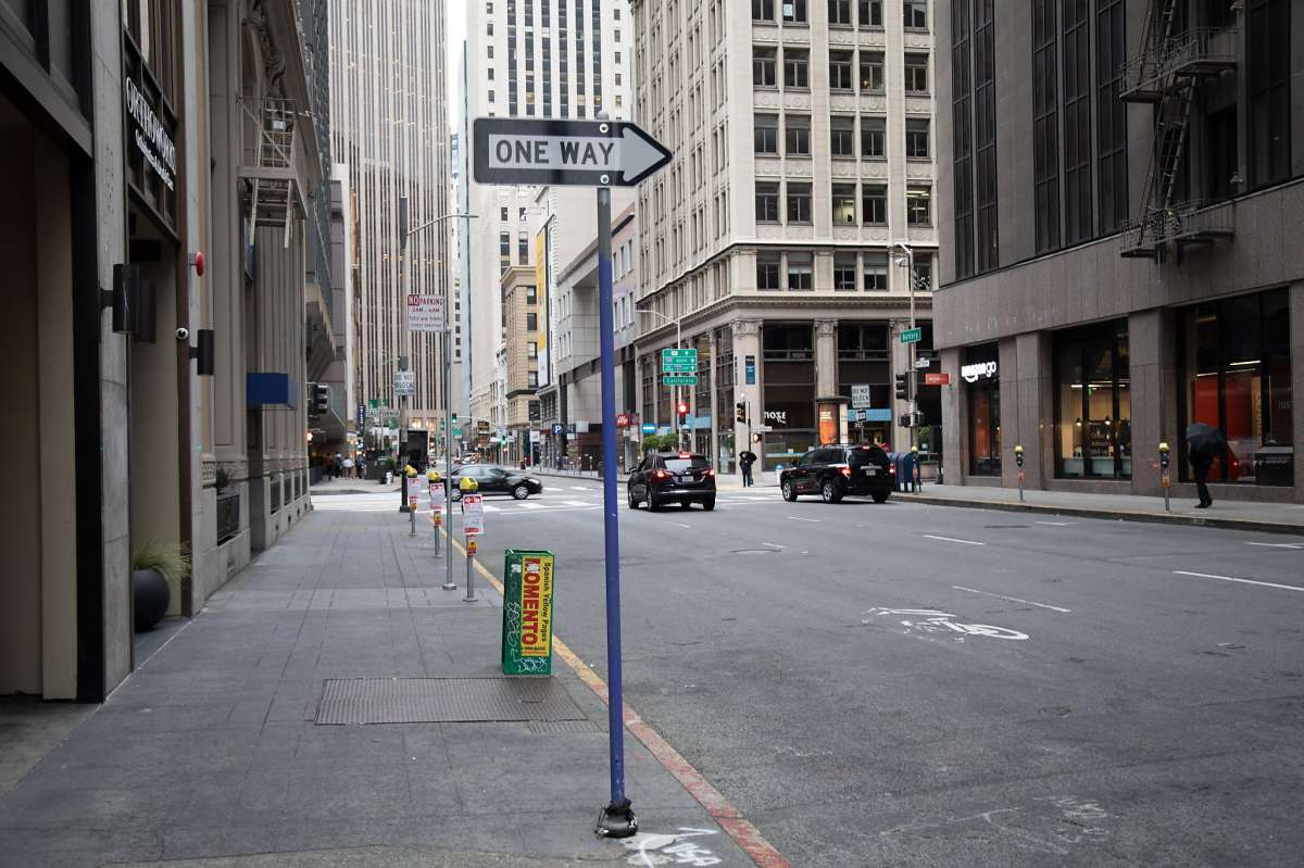 Pedestrian traffic is sparse in downtown San Francisco.