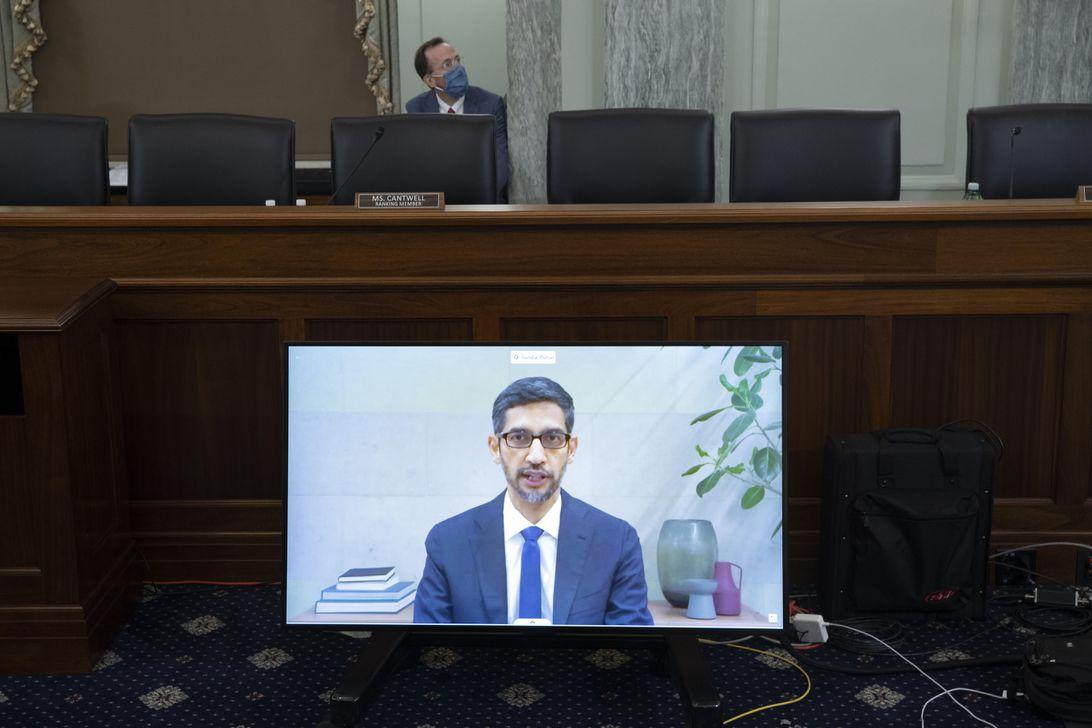 Sundar Pichai addresses a US Senate committee