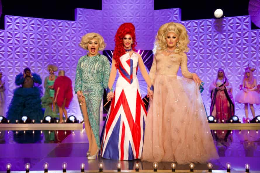 Baga Chipz, Divina De Campo and The Vivienne in RuPaul's Drag Race UK.