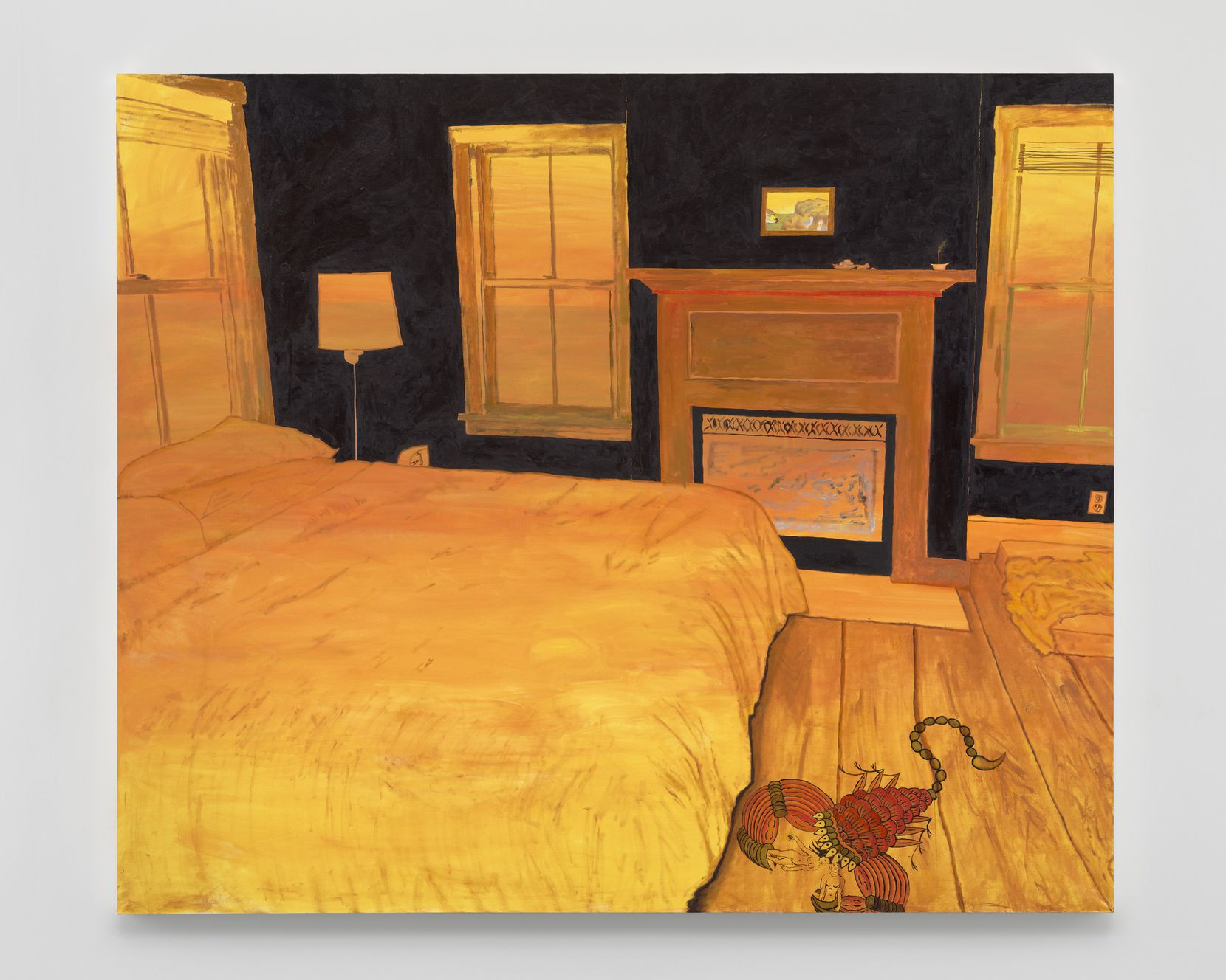 """In the standout """"Buddhadharma Fever"""" (2019), artist Leidy Churchman depicts a golden-hued bedroom with a giant scorpion scrambling along the floor carrying two figures in its claws."""