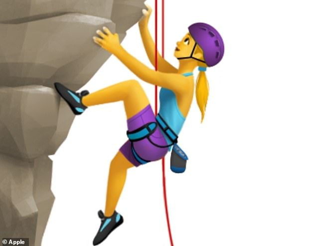 Pictured, 'woman climbing' for iOS 14.5. 'Man climbing', 'woman climbing' and 'person climbing' have been slightly tweaked by Apple to give them helmets