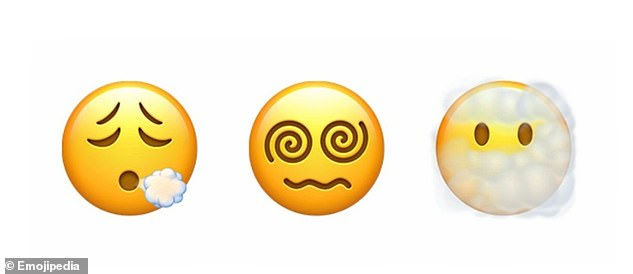 From left, coming to iOS 14.5 are 'exhaling face', 'face with spiral eyes' and 'face in clouds'