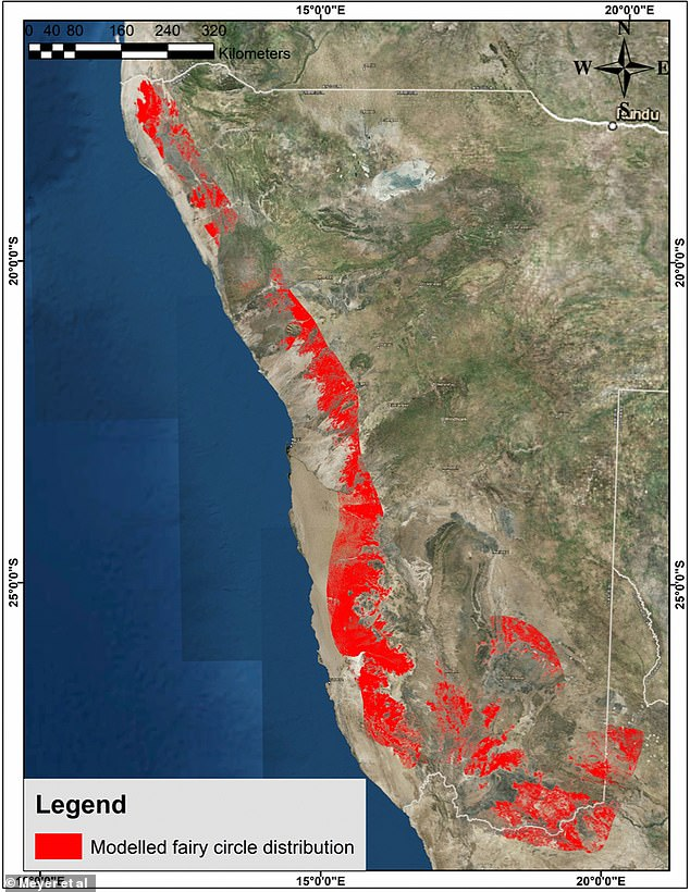 Site suitability prediction map for fairy circle distribution in Nambia (areas where previously reported fairy circles occur south-west of the Orange River are not included)