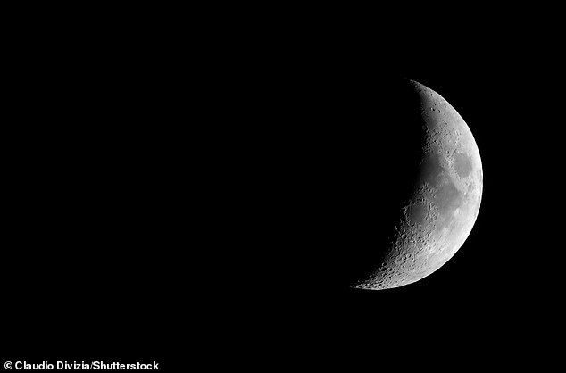 Waxing crescent moon seen with an astronomical telescope. This is how it will appear tonight. The Moon takes 27.3 days to orbit Earth, but the lunar phase cycle (from new Moon to new Moon) is 29.5 days