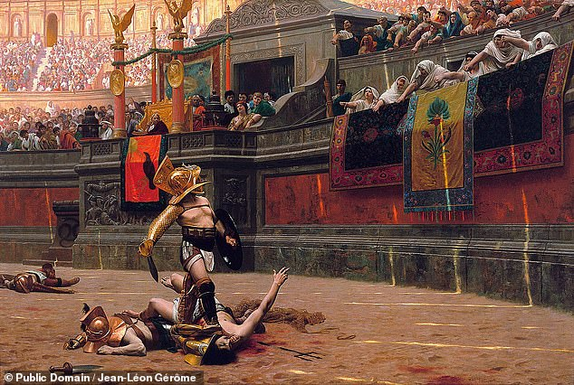 A gladiatorial fight in Rome's Colosseum, as depicted in 'Pollice Verso' an1872 oil painting by France'sJean-Léon Gérôme