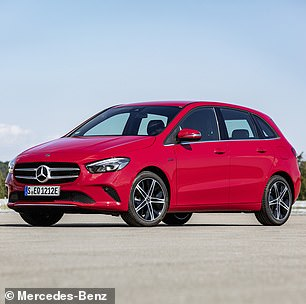 The Mercedes-Benz B-Class plug-in hybrid (pictured), meanwhile, was found to be 67 per cent less efficient than advertised — the same as the Mercedes-Benz GLE