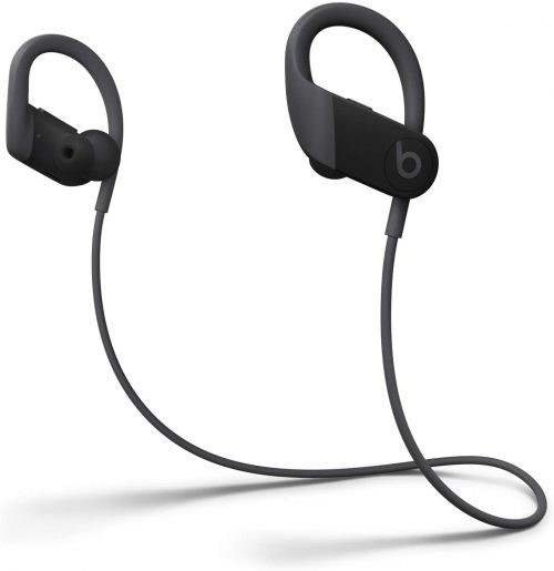 black Powerbeats earbuds with ear hooks for working out