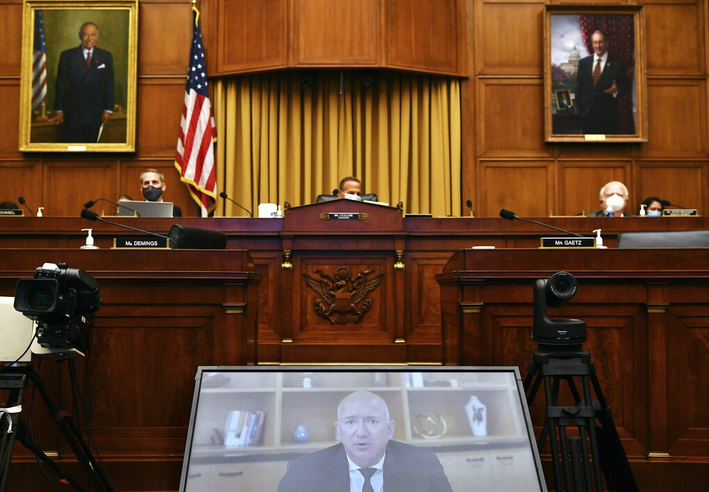 Amazon CEO Jeff Bezos testifies remotely during a House Judiciary subcommittee on antitrust in Washington, D.C., last July. (Mandel Ngan / The Associated Press)