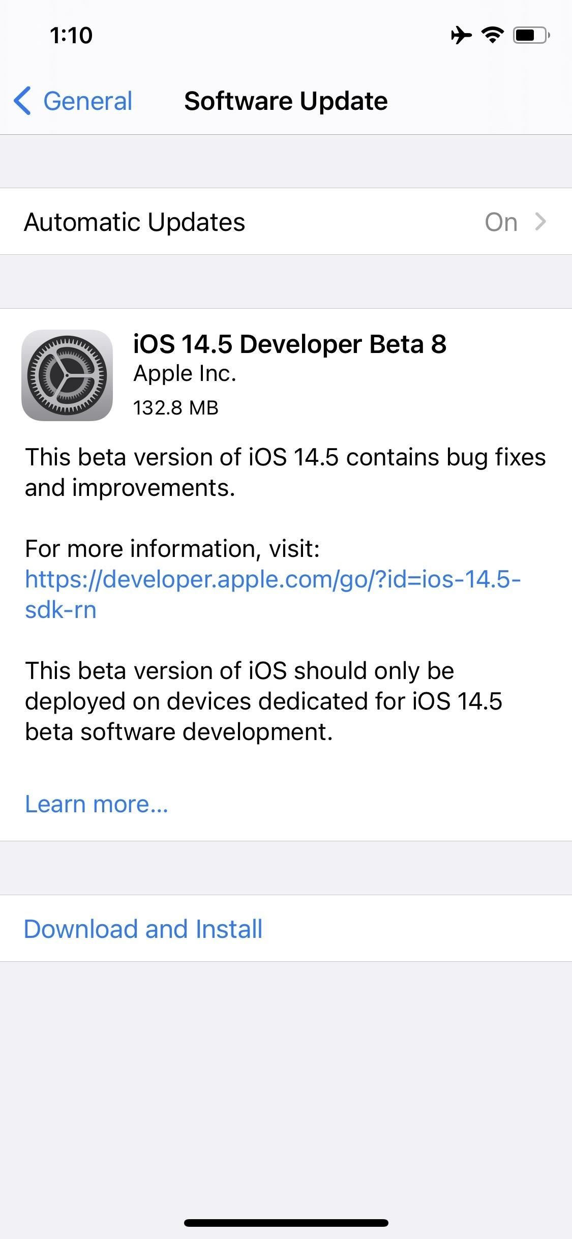 Apple Releases iOS 14.5 Beta 8 to Developers