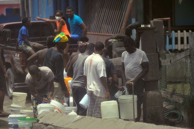 Caribbean island tackles water, food shortages after volcano eruption
