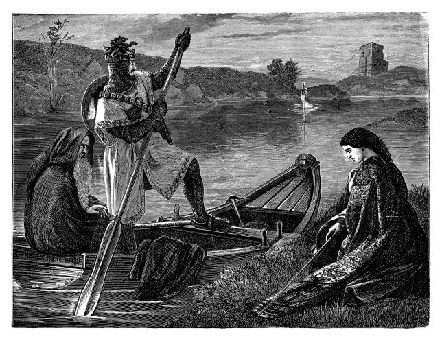 King Arthur on boat with Merlin going to retrieve the sword - Scanned 1881 Engraving