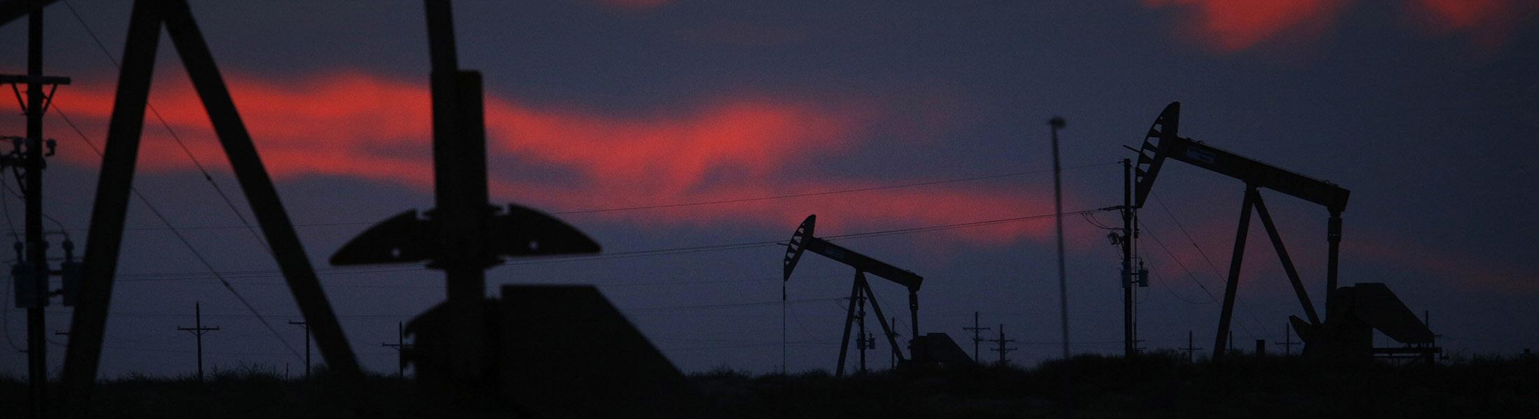 Pump jacks in the oil fields surrounding Midland.