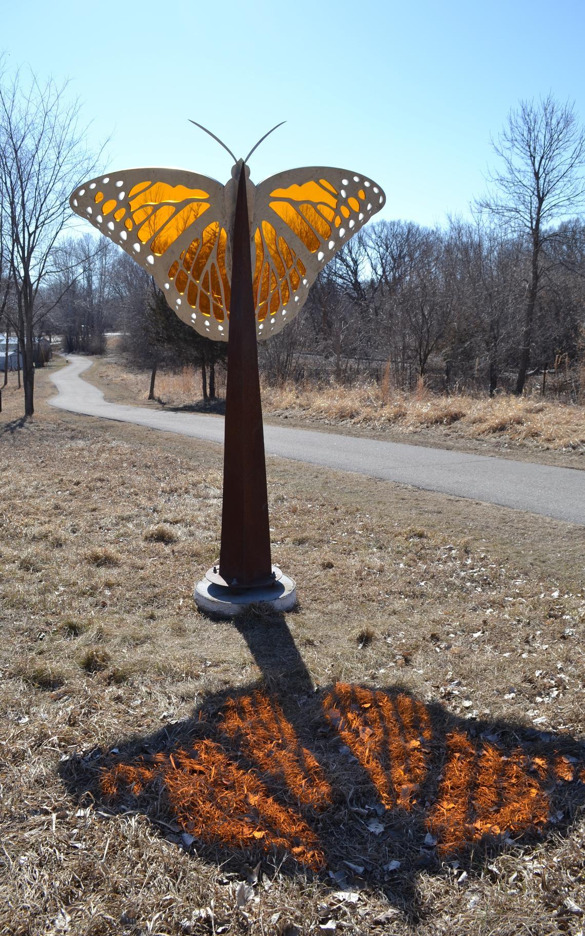 Monarch butterfly sculpture in Noyes Park, Fergus Falls, by machine artist Carl Zachmann.   Joanne Ryan/USFWS