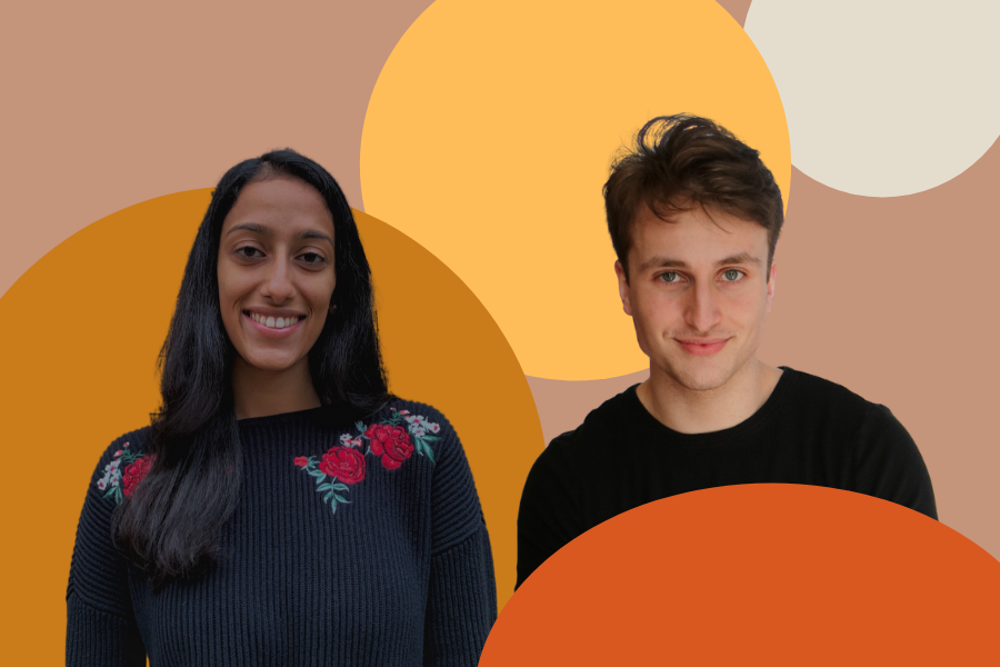 Two+people+standing+side-by-side+against+a+tan+background+with+orange+and+yellow+circles+on+it.