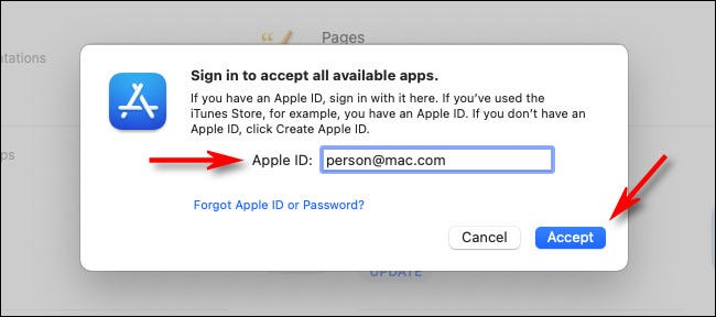 """Enter your Apple ID and click """"Accept."""""""