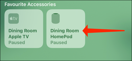 Tap and hold the HomePod icon