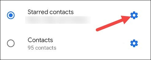 starred contacts settings