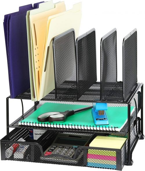 Mesh Desk organizer filled with office supplies