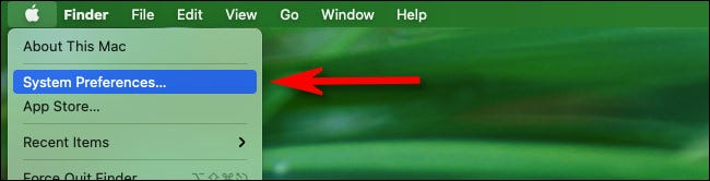 """Click the Apple menu in the top left corner of the screen and select """"System Preferences."""""""
