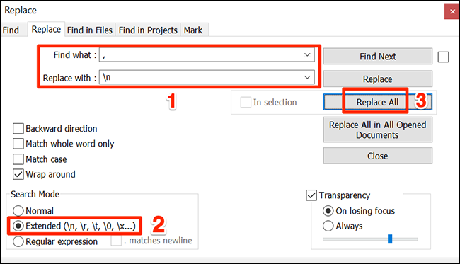 """In the """"Replace"""" window, enter the proper values and click """"Replace All."""""""
