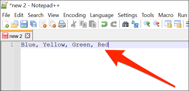 A comma-separated item list in Notepad++.