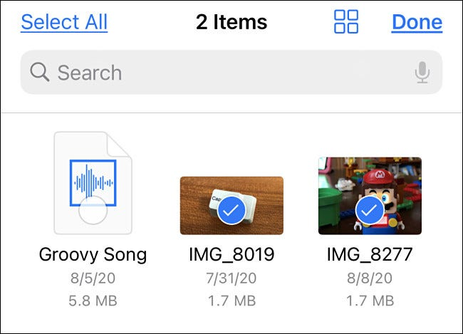 Select the files or videos you'd like to copy to Photos.