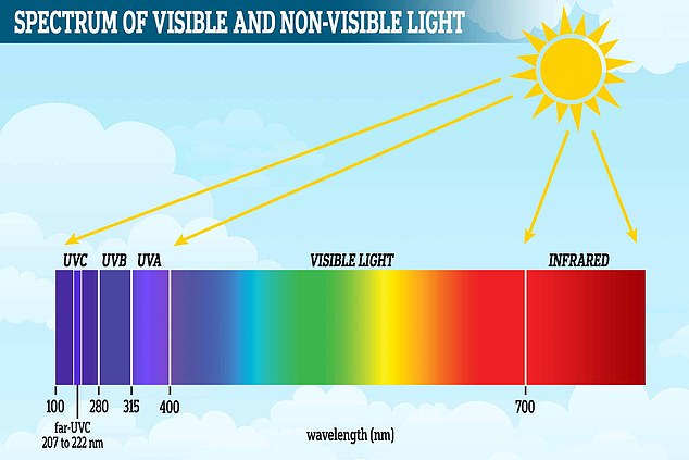 Shown here is the spectrum of visible and non-visible light. The three types of UV radiation are classified according to their wavelength. Within the UVC range is a type called far-UVC (more on this below)