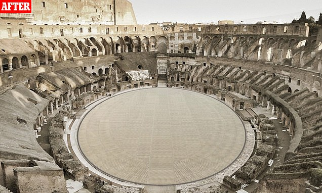 An artist's impression of what the finished floor of Rome's Colosseum will look like in two years' time