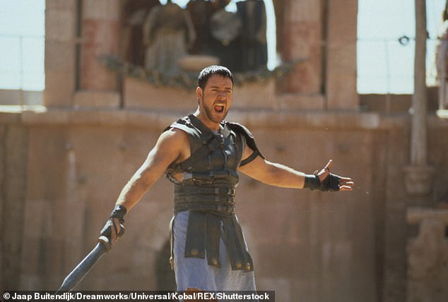 Russell Crowe is pictured in the role of Maximus Decimus Meridius in the 2000 film Gladiator. An almost-complete replica of theColosseum was built in Malta for the film