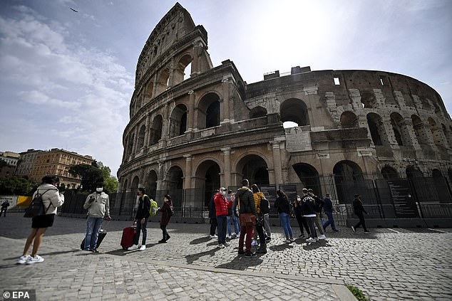 The Colosseum was reopened to visitors last Monday as the region was created a yellow zone