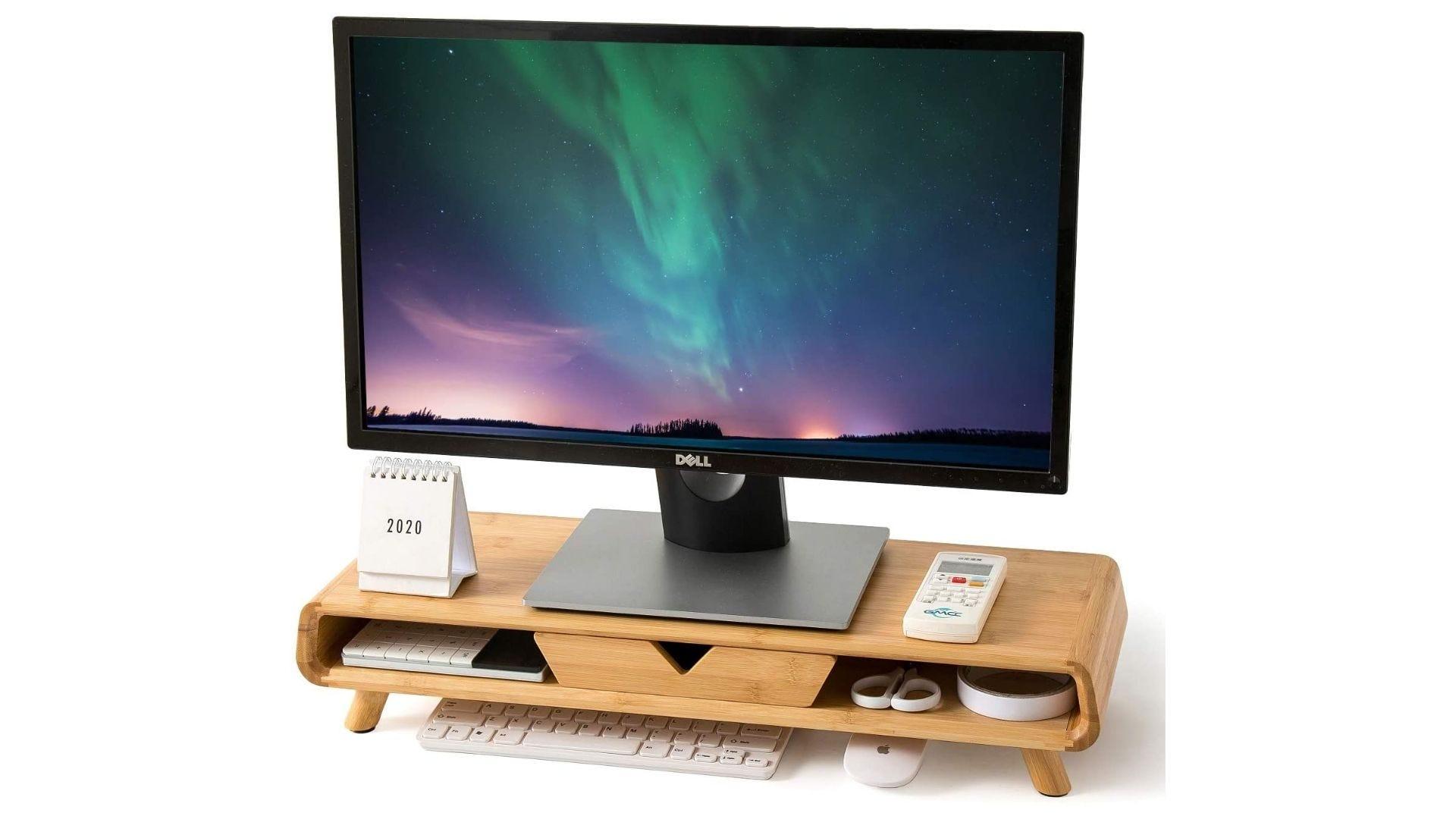 Homerays Bamboo Monitor Stand