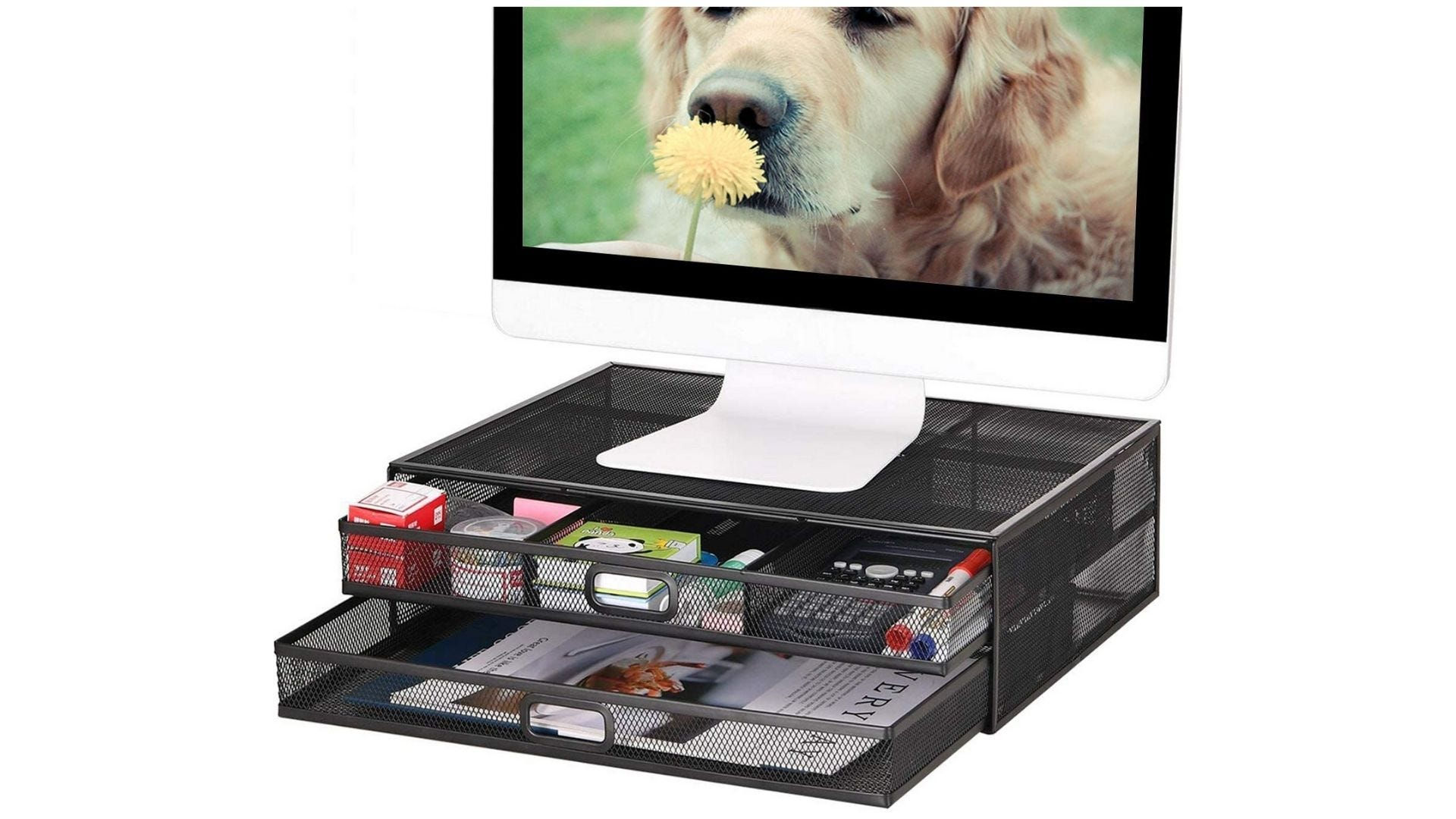 Marbrasse Monitor Stand Riser with Drawer