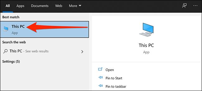 """Start menu displaying """"This PC"""""""