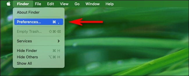 """Click """"Finder"""" in the menu bar then select """"Preferences."""""""
