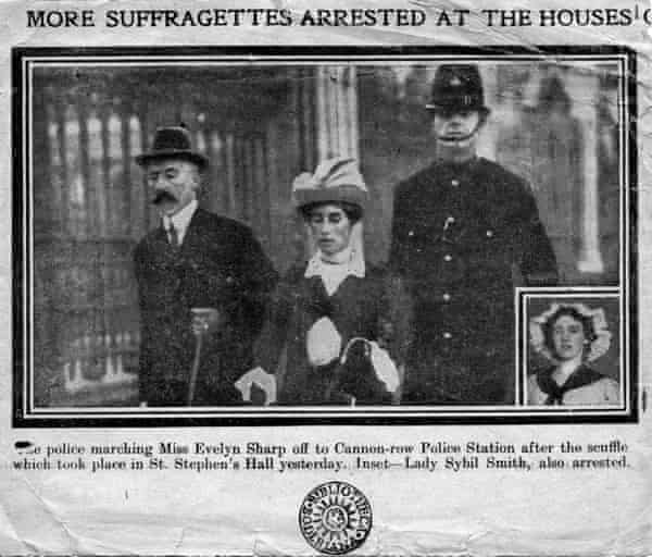 Evelyn Sharp being arrested in 1913.