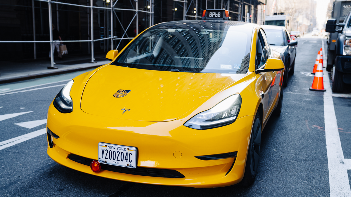 Tesla yellow taxi on the streets of NYC