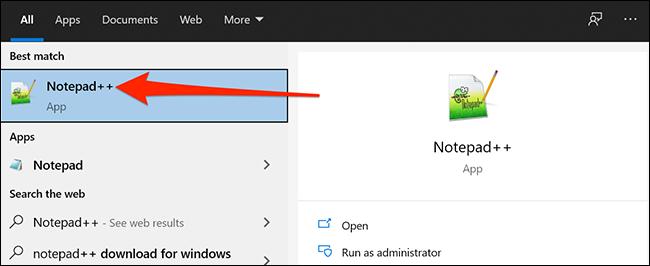 Launch Notepad++ in the Windows Start menu.