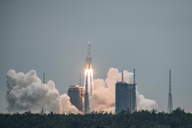 The Long March 5B rocket, carrying China's Tianhe space station core module, lifts off from the Wenchang Spacecraft Launch Site in Hainan Province, China (Credits: EPA)