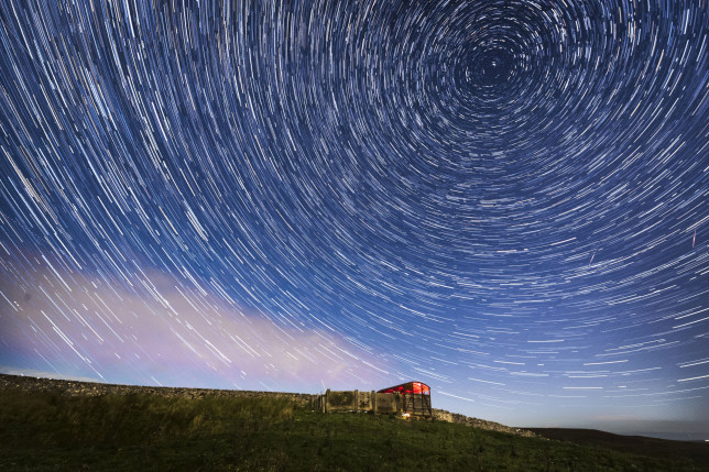 Digital composite of 50 photographs taken over a period of 25 minutes during a meteor shower near Hawes in the Yorkshire Dales National Park. (Credits: PA)