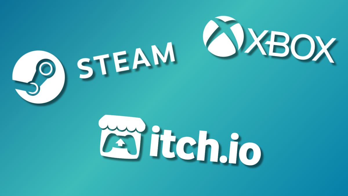 Steam, Xbox, and itch.io logos against a multi-color backdrop