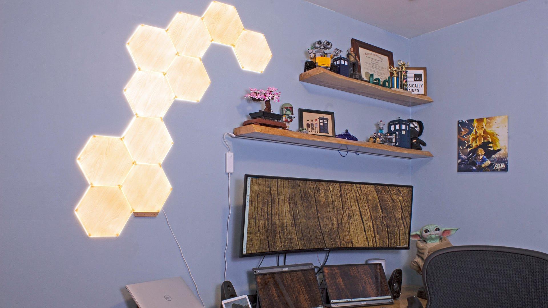 A set of wood-grain hexagons lit in yellow light.