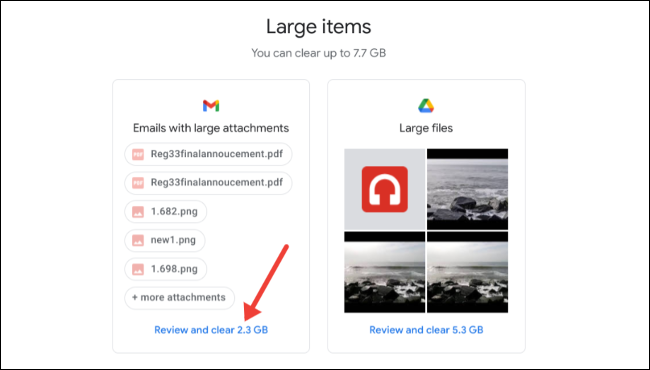 Review and clear large items on Google storage