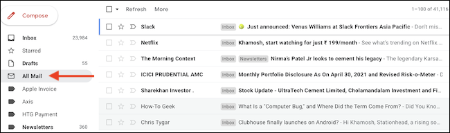 """Click the """"All Mail"""" label from the Gmail sidebar to see all emails without the tab categories."""