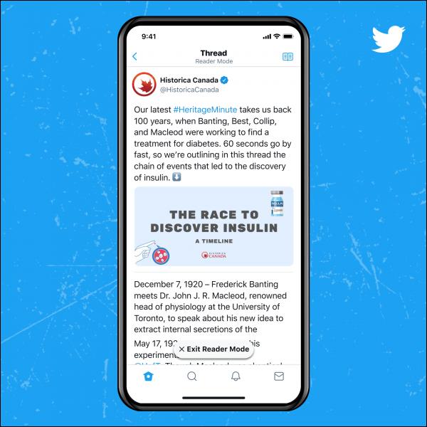 Twitter Blue Reader Mode.