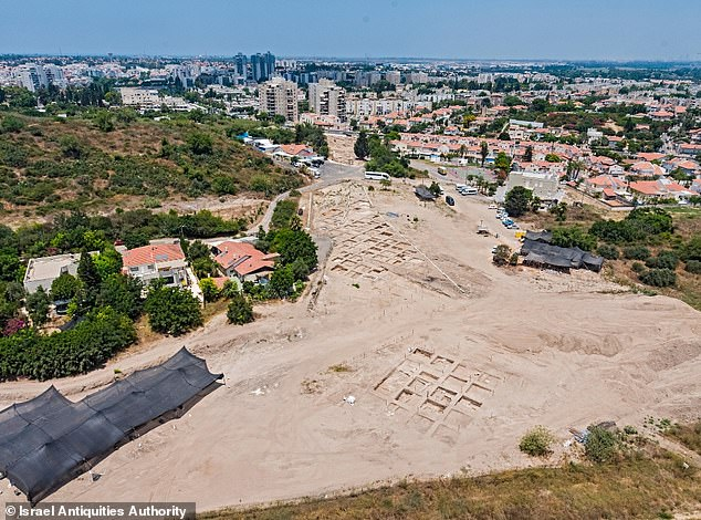 Pictured is an aerial shot of the excavation site