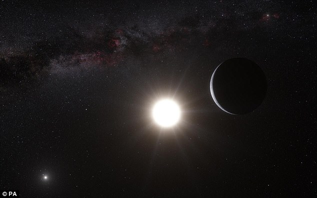 Alpha Centauri 4.37 light-years away and is home to three stars: Centauri A, Centauri B, and Proxima Centauri. An artist's impression of the closest star system to us is pictured