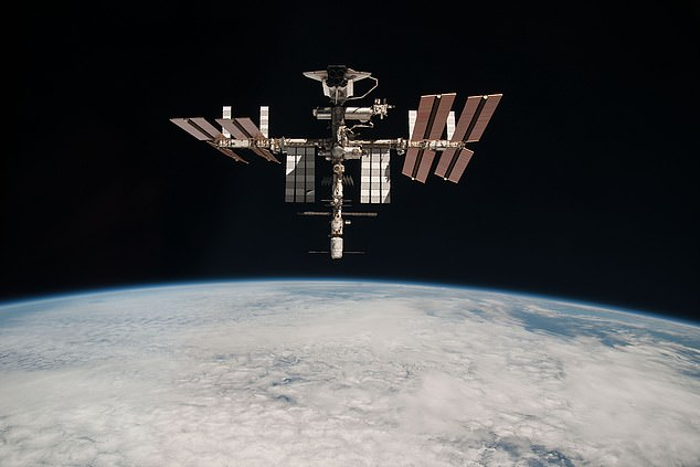 SpaceX announced a landmark partnership last year with Axiom Space, which is building a privately-owned successor to the ISS (pictured), to transport the tourists along with a commander on one of its Crew Dragon capsules.