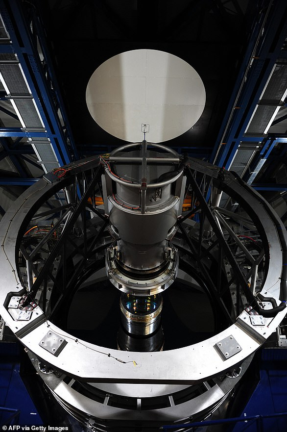 Picture of the four-metre VISTA telescope (Visible and Infrared Survey Telescope for Astronomy) of the European Southern Observatory (ESO) at the Cerro Paranal Observatory
